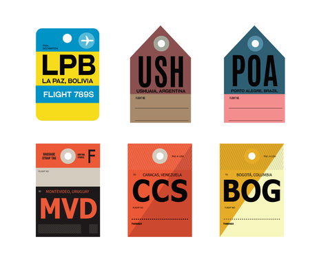 la paz ushuaia porto alegre montevideo caracas bogota baggage tag Ilustração