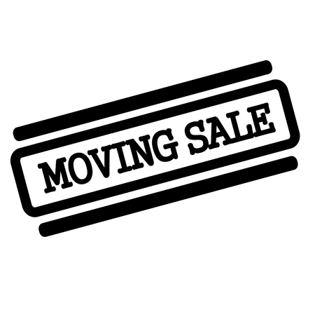 moving sale black stamp on white background
