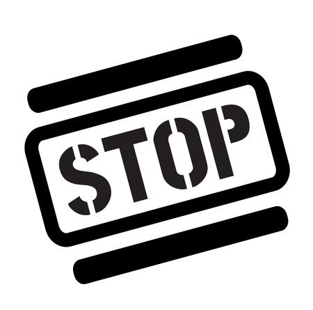 stop black stamp on white background