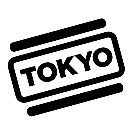 tokyo black stamp on white background