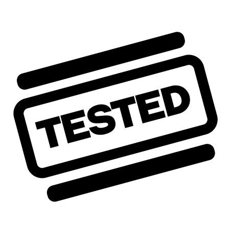 tested black stamp on white background