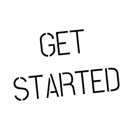 get started stamp on white background Sign, label, sticker.
