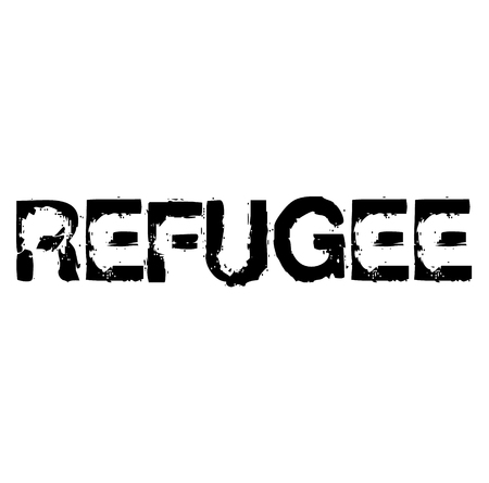 Refugee stamp on white background Sign, label, sticker Çizim