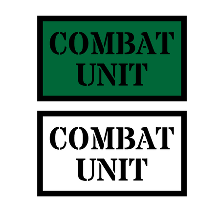 combat unit sign on white background Sign, label, sticker. Ilustrace