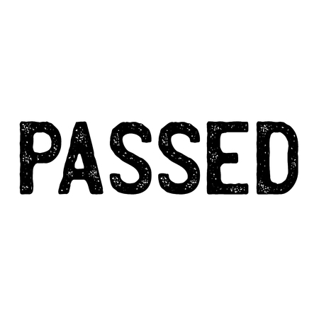 Passed stamp on white background Sign, label, sticker Çizim