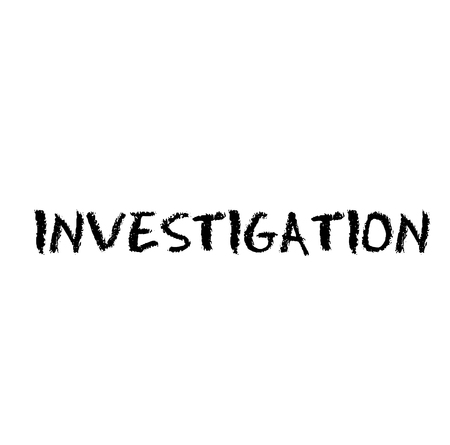 Investigation stamp on white