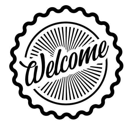 Welcome stamp on white background Sign, label, sticker