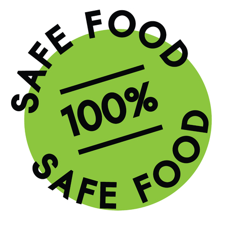 100 percent safe food label on white background Illustration