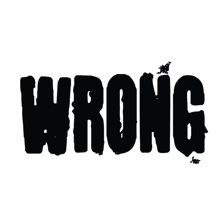 Wrong stamp on white background Sign, label, sticker