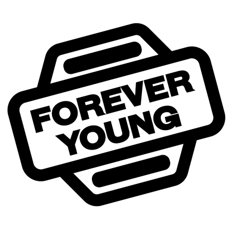 forever young black stamp on white background