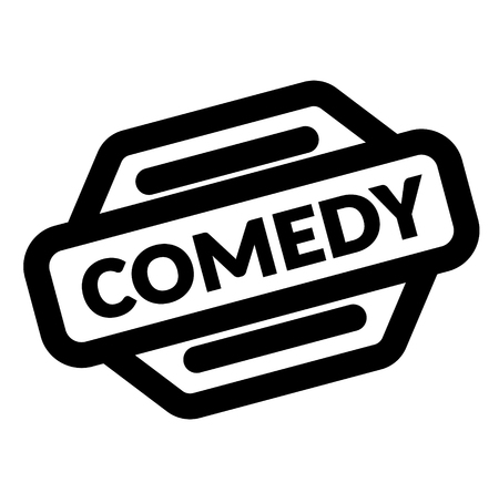comedy black stamp on white background
