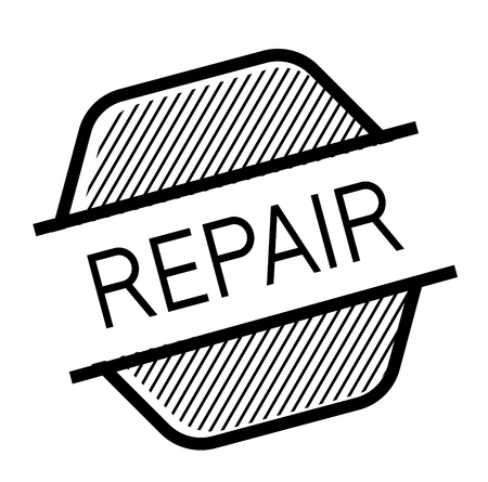 repair black stamp on white background. Sign, label, sticker
