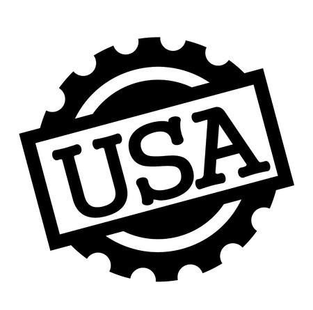 usa black stamp on white background. Sign, label, sticker Illustration