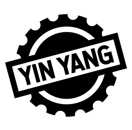 ying yang black stamp on white background. Sign, label, sticker