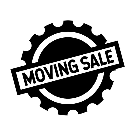 moving sale black stamp on white background. Sign, label, sticker