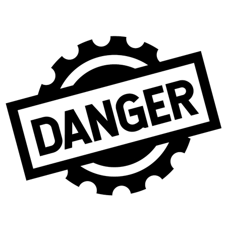 danger black stamp on white background. Sign, label, sticker Vettoriali