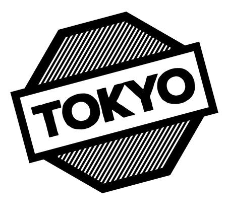 tokyo black stamp in turkish language. Sign, label, sticker