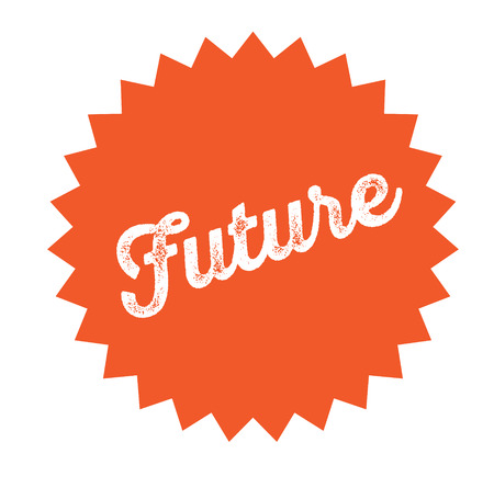 future stamp on white background . Sign, label sticker