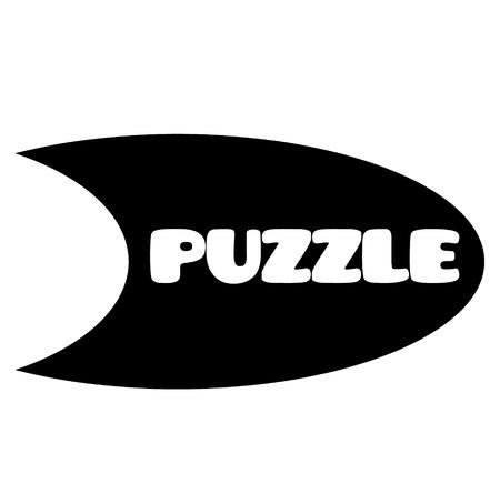 puzzle stamp on white background . Sign, label sticker Ilustração