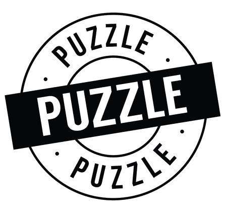 puzzle stamp on white background . Sign, label sticker Illustration