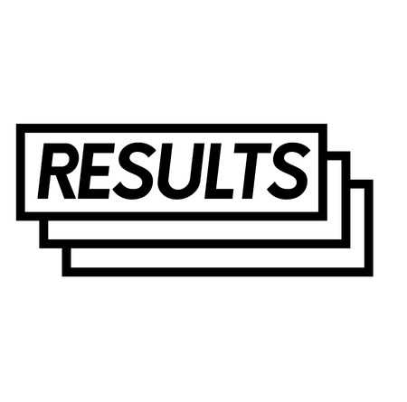 results stamp on white background . Sign, label sticker