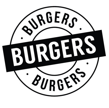 burgers stamp on white