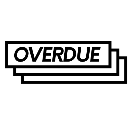 overdue stamp on white background . Sign, label sticker