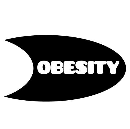 obesity stamp on white background . Sign, label sticker