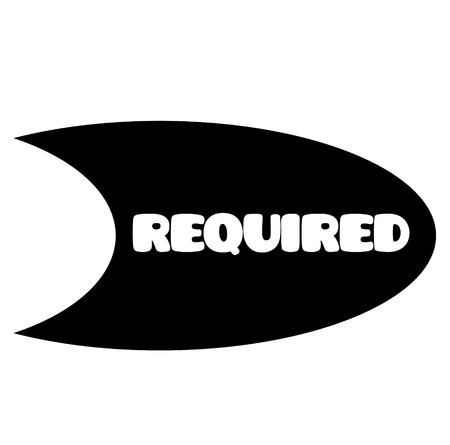 required stamp on white background . Sign, label sticker