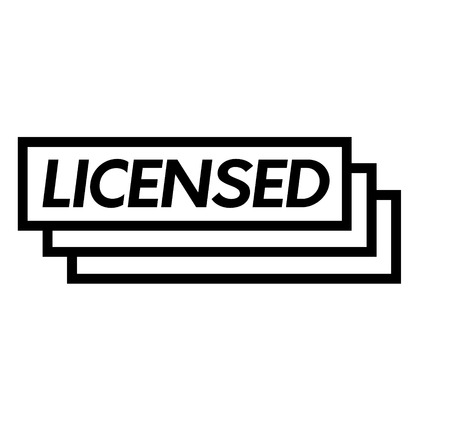 licensed stamp on white background . Sign, label sticker Illustration