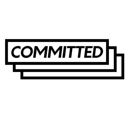 commited stamp on white background . Sign, label sticker
