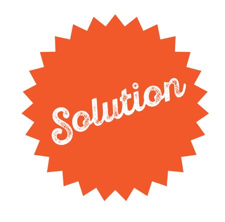 sello de solución sobre fondo blanco. Firmar, etiqueta autoadhesiva