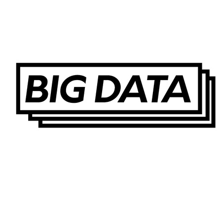 big data bl ack stamp in spanish language. Sign, label, sticker.