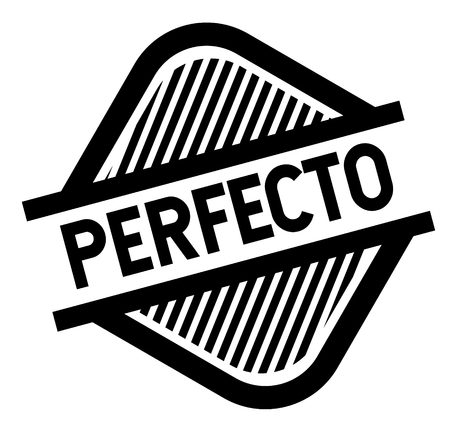 timbro nero perfetto in lingua spagnola. Segno, etichetta, adesivo