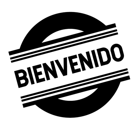 welcome bl ack stamp in spanish language. Sign, label, sticker