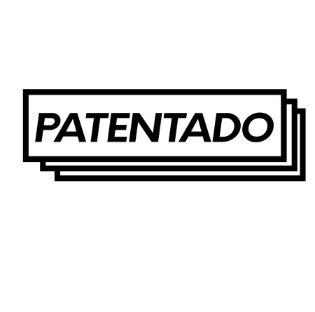 patented bl ack stamp in spanish language. Sign, label, sticker