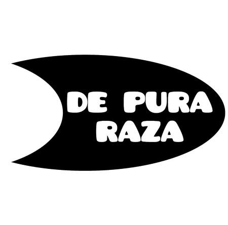 purebred bl ack stamp in spanish language. Sign, label, sticker