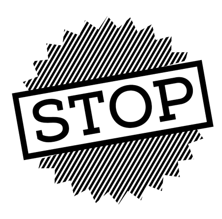 stop black stamp on white background Ilustração
