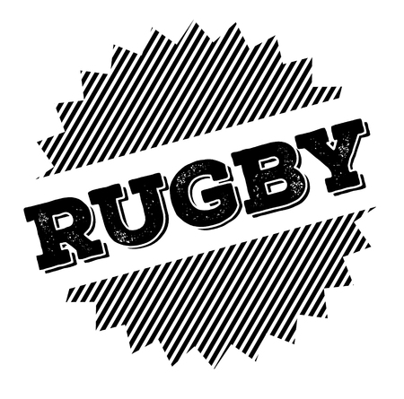 rugby black stamp on white background