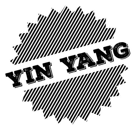 ying yang black stamp on white background