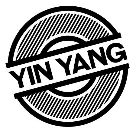 ying yang black stamp on white background , sign, label