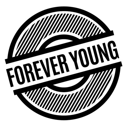 forever young black stamp on white background , sign, label