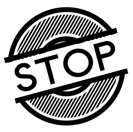 stop black stamp on white background , sign, label