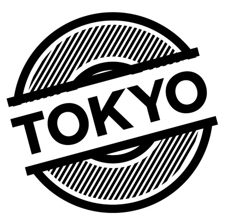tokyo black stamp on white background , sign, label