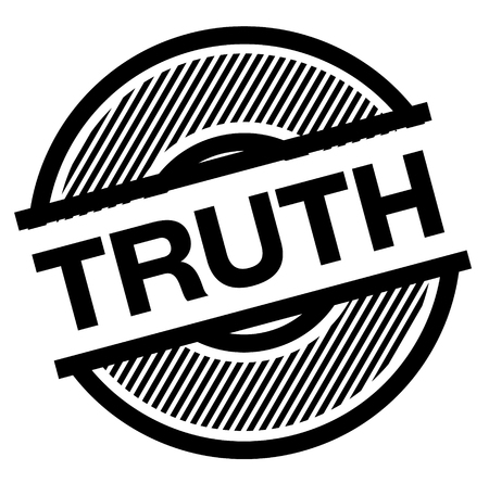 truth black stamp on white background , sign, label