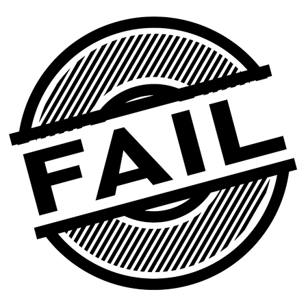 fail black stamp on white background , sign, label