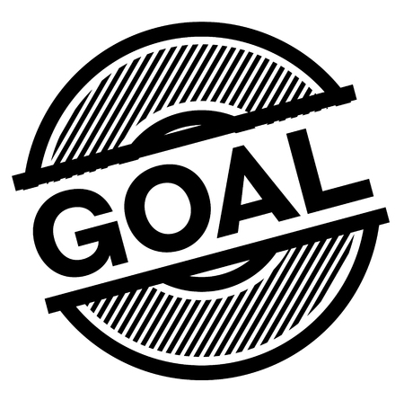 goal black stamp on white background , sign, label