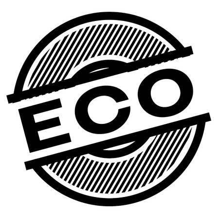 eco black stamp on white background , sign, label