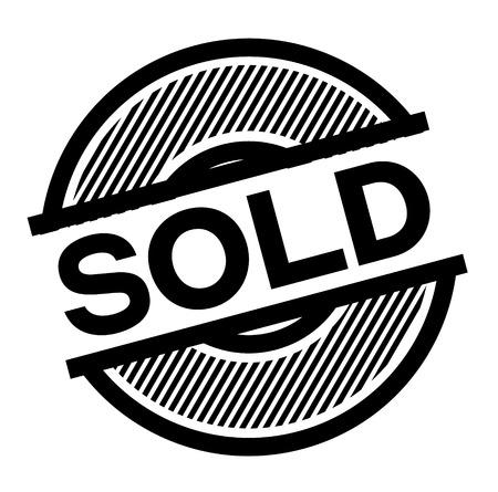 sold black stamp on white background , sign, label Vector Illustration