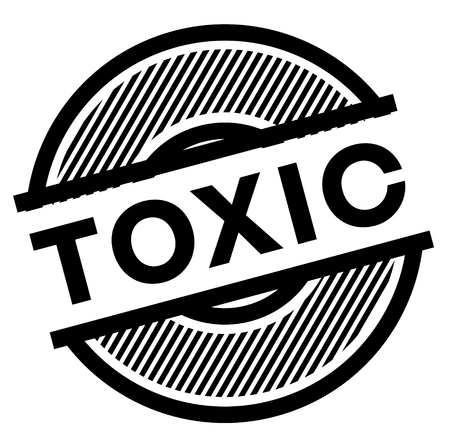 toxic black stamp on white background , sign, label